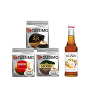 Tassimo® meets Monin® Set 13: Cappuccino from Jacobs+Gevalia+L'OR - 3 Varieties+1 Bottle of Monin Caramel Syrupl 250ml