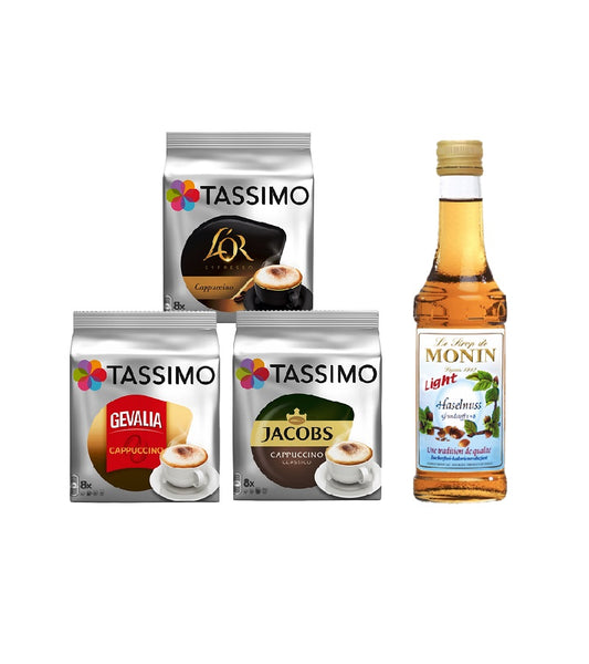 Tassimo® meets Monin® Set 17: Cappuccino from Jacobs+Gevalia+L'OR - 3 Varieties+1 Bottle of Monin Hazelnut Light Syrup 250ml