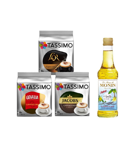 Tassimo® meets Monin® Set 20: Cappuccino from Jacobs+Gevalia+L'OR - 3 Varieties+1 Bottle of Monin Vanilla Light Syrup 250ml