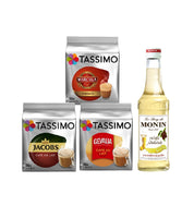 Tassimo® meets Monin® Set 21: Cappuccino from Jacobs+Gevalia+L'OR - 3 Varieties+1 Bottle of Monin White Chocolate Syrup 250ml