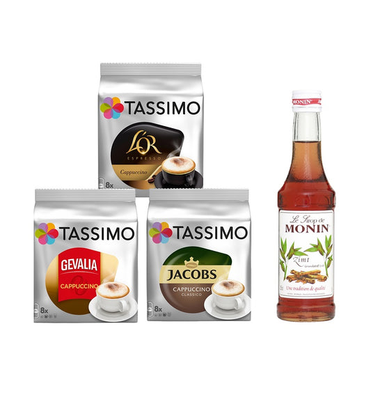 Tassimo® meets Monin® Set 22: Cappuccino from Jacobs+Gevalia+L'OR - 3 Varieties+1 Bottle of Monin Cinnamon Syrup 250ml