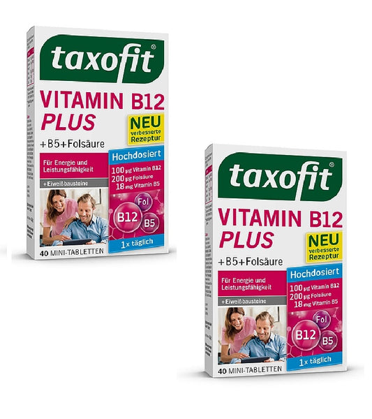 2xPacks Taxofit Vitamin B12 +B5 Pantothic Acid Plus Mini-Tablets for Energy