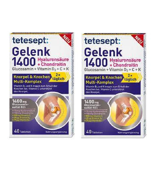 2xPack Tetesept Joint (Gelenk) 1400 Glucosamin + Hyaluron & Chondrotin Cartilage and Bone Multi-complex - 80 Tablets