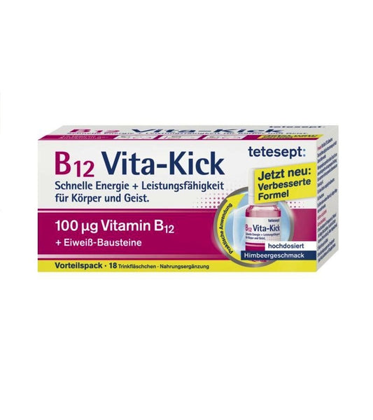 Tetesept B12 Vita kick Dietary supplement with vitamin B12, Niacin and Amino Acids - 18 Tabsules - Eurodeal.shop