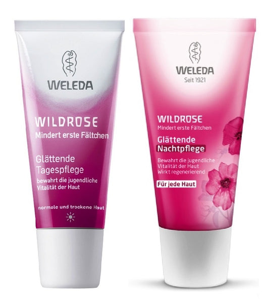 WELEDA Wild Roses Smoothing Day and Nigh Care Cream Set - 60 ml