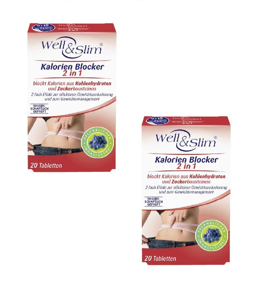 2x Packs Well & Slim Calorie Blocker 2-in-1 Carb & Sugar - Weight Loss - Eurodeal.shop