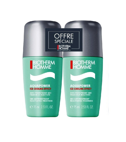 2xPack BIOTHERM Homme Aquapower Deodorant Roll-On for Men - 150 ml +FREE NIVEA Fresh Active 24h Deo Atomizer