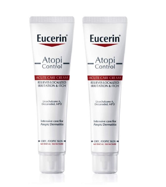 2xPack Eucerin AtopiControl Acute Cream for Dry and Itchy Skin - 80 ml