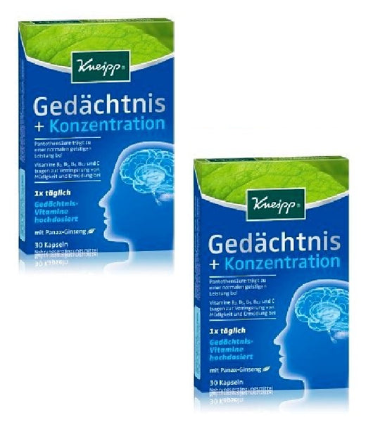 2xPack Kneipp Memory + Concentration Capsules - 60 Capsules