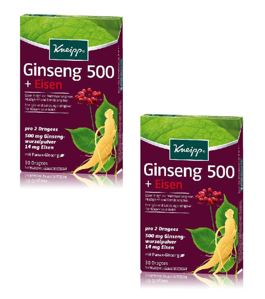 2xPack Kneipp Ginseng 500 + Iron Dragees - 60 Pieces