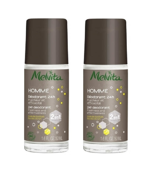 2xPack MELVITA MENS DEODORANT 24H Protection with Baobab Oil and Lemon Water