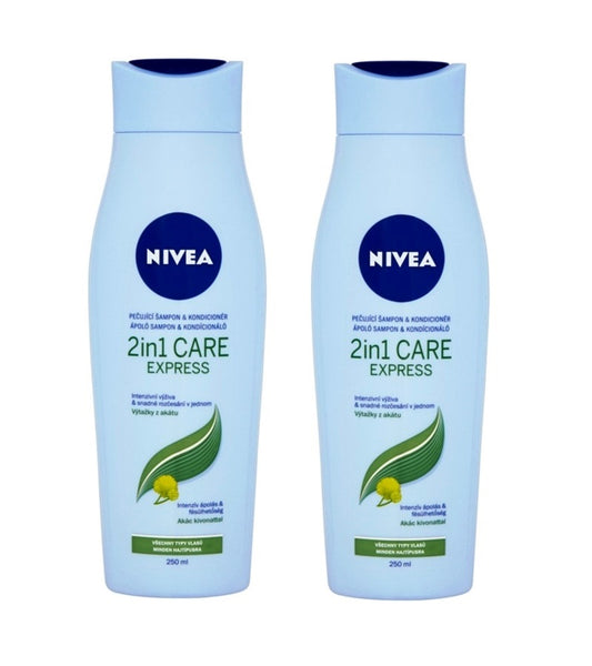 2xPack Nivea 2in1 Care Express Protect & Moisture Shampoo and Conditioner - 500 ml