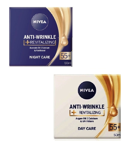 2xPack Nivea Anti-Wrinkle Revitalizing Day & Night Cream Set 55+ - 100 ml