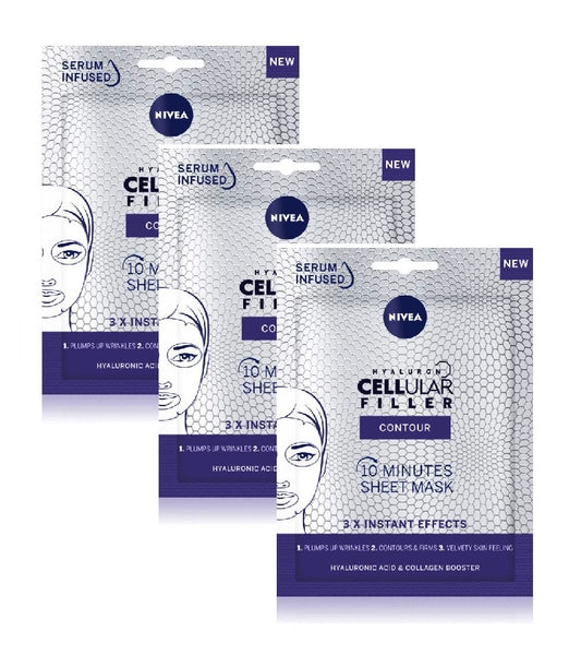 3xPack Nivea Hyaluron Cellular Filler Layer Mask to Fill Wrinkles