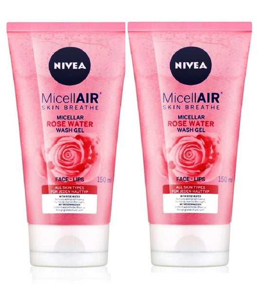 2xPack Nivea MicellAir Rose Water Micellar Cleansing Gel - 300 ml