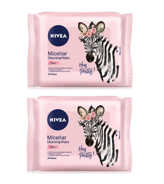 2xPack Nivea Micellar Cleansing Facial Tissues 3in1 - 50 pcs