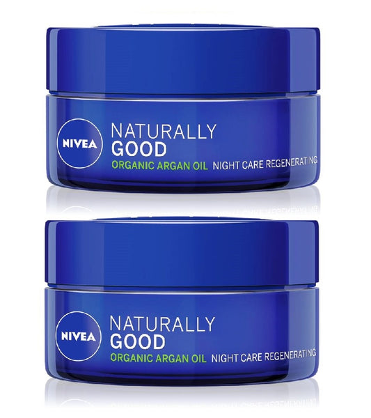 2xPack NIVEA Naturally Good Regenerating Night Cream with Argan Oil - 100 ml