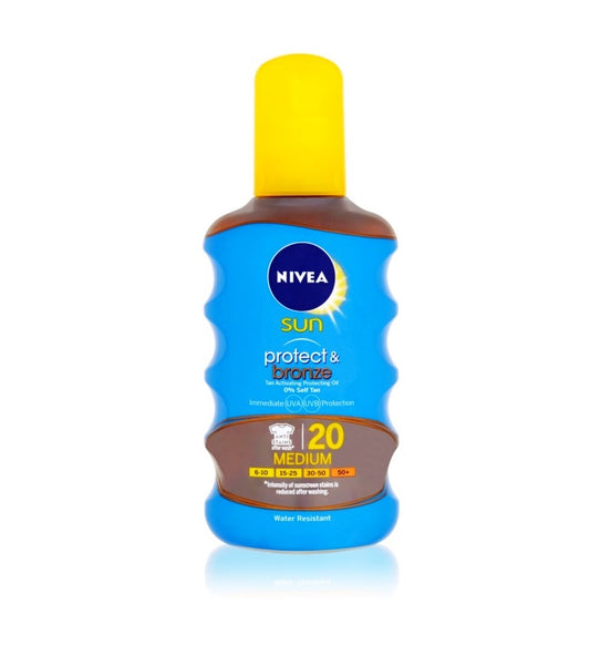 Nivea Sun Protect & Bronze Drying Oil for Tanning SPF 20 - Medium