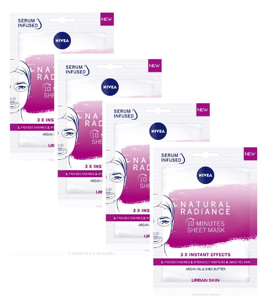 4xPack Nivea Urban Skin Lightening 10-Minute Sheet Masks