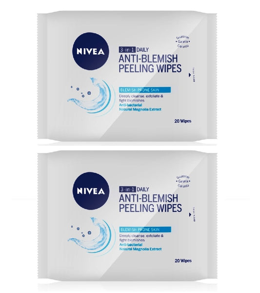 2xPack Nivea Visage Pure Effect 3-in-1 Deep Cleansing Peeling Cloths - 40 pcs