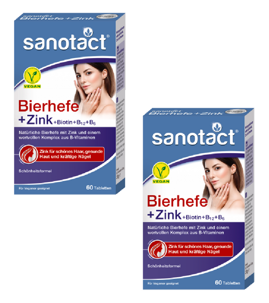 2xPack Sanotact Brewer's Yeast + Zinc Tablets for Hair, Skin and Nails - 120 pieces