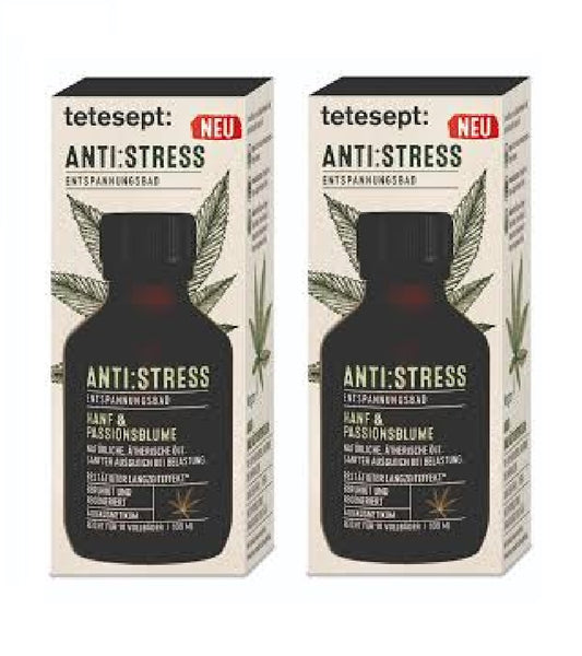 2xPack Tetesept Anti-Stres Bath 'Hemp & Passion Flower+4 Oils - 200 ml