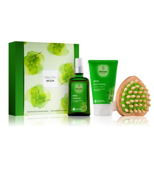 WELEDA Birches Cosmetic Set - Cosmetic Set - Oil +Shower Gel + Massage Brush