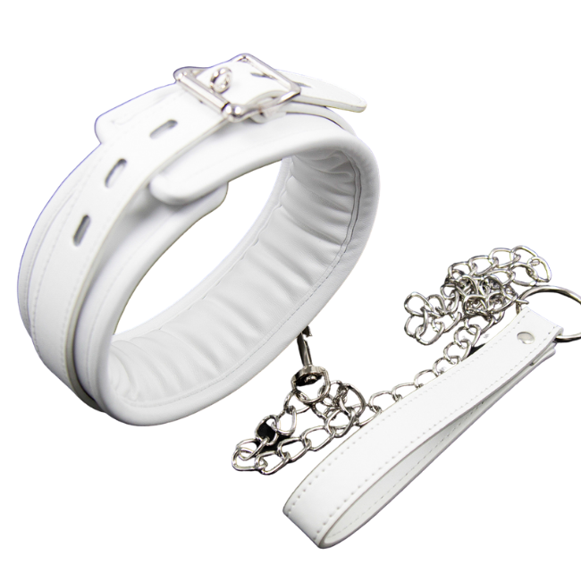 Bondage Bottega, Kynthia White Slave Collar and Leash