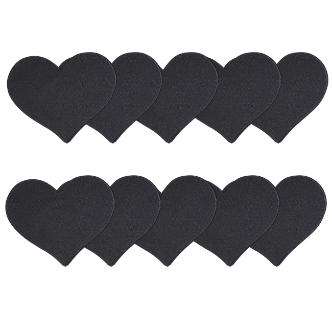 Jet Black Heart 5 Pair Nipple Pastie Set