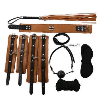 Bondage Bottega, Elektra Brown and Black BDSM 8pc Kit