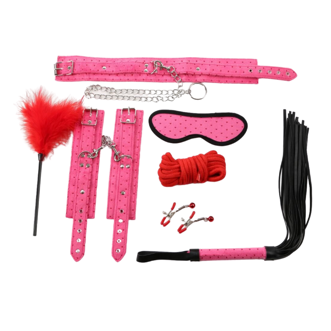 Bondage Bottega, Sasha Rose Suede BDSM 9pc Kit