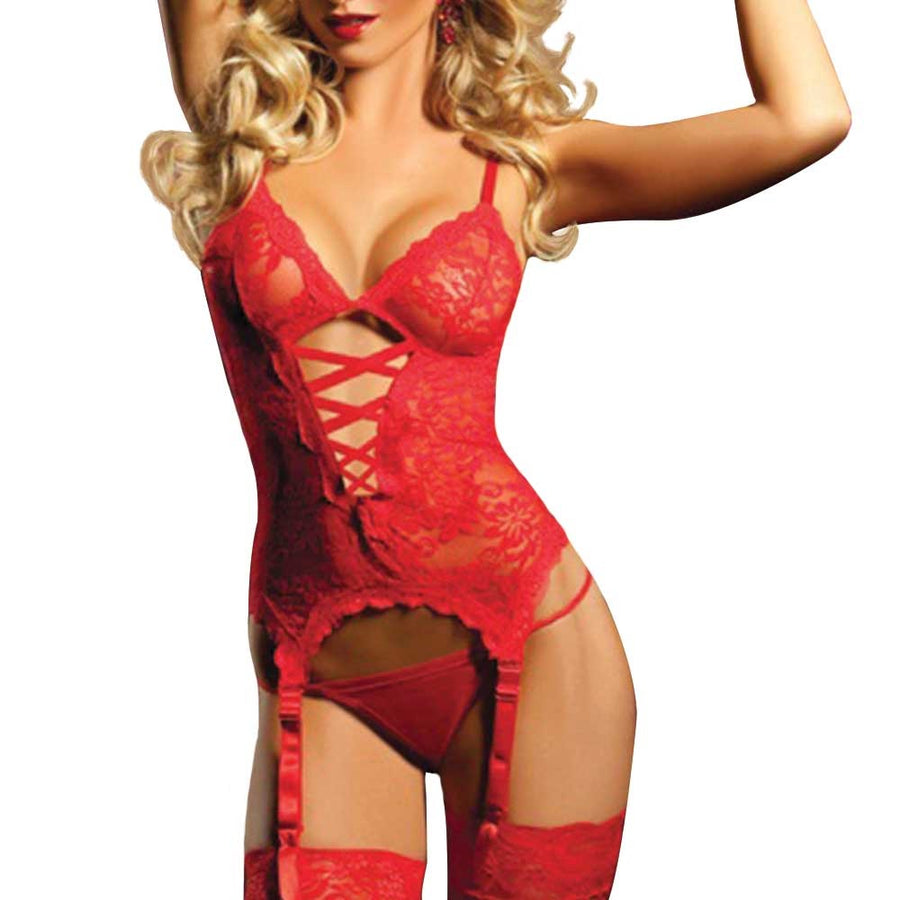Matching lace bodice romper, mesh G-string, wrist restraints lingerie for women women in lingerie