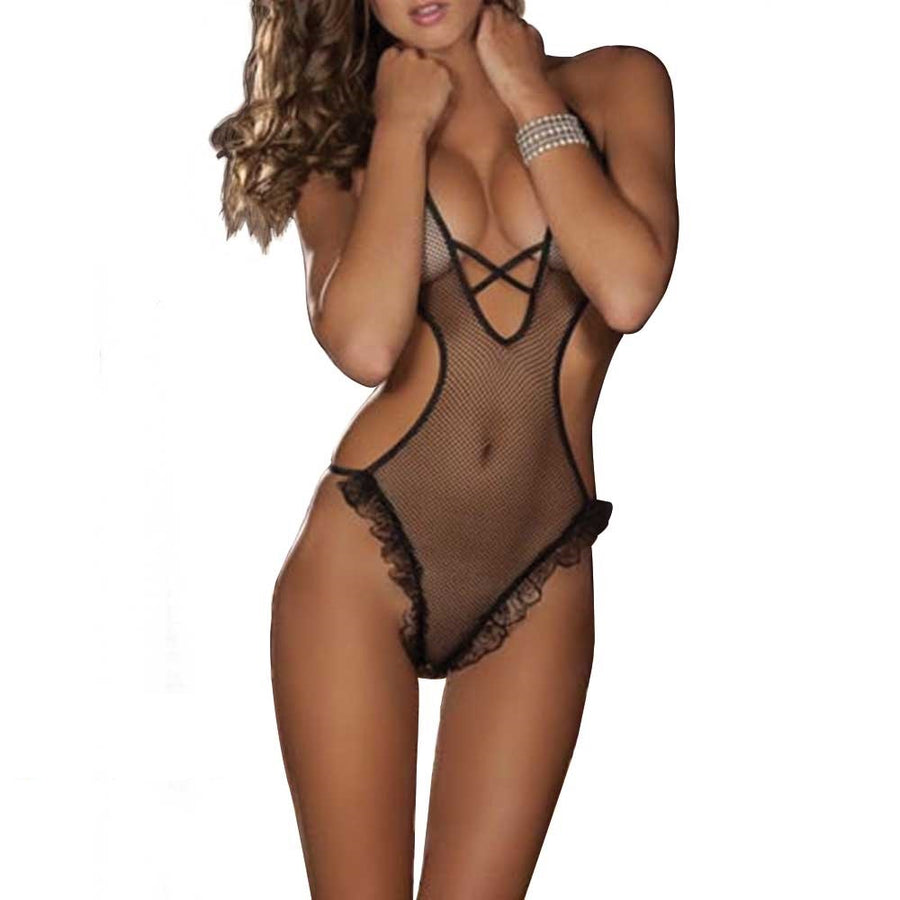 Transparent form-fitting mesh G-string teddycute lingerie lingerie women