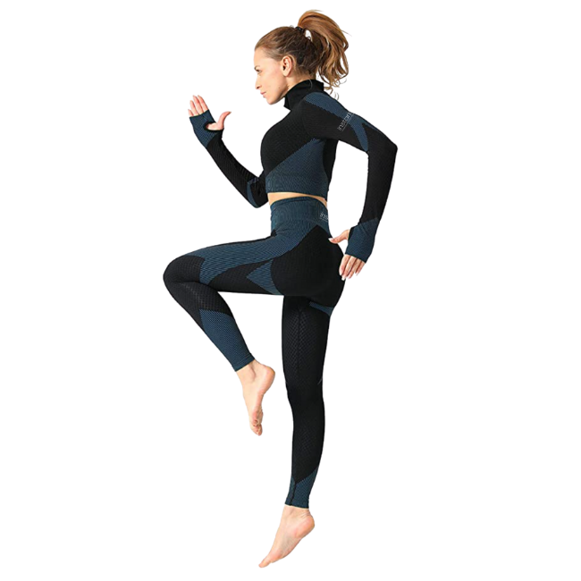 InstantFit, Deep Blue and Black Two Piece, Long Sleeve Compression Set