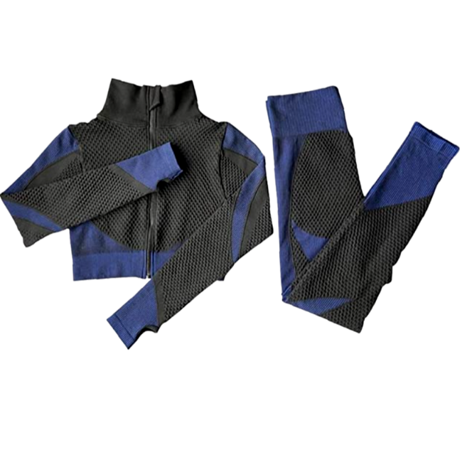 InstantFit, Royal Blue and Black Two Piece, Long Sleeve Compression Set