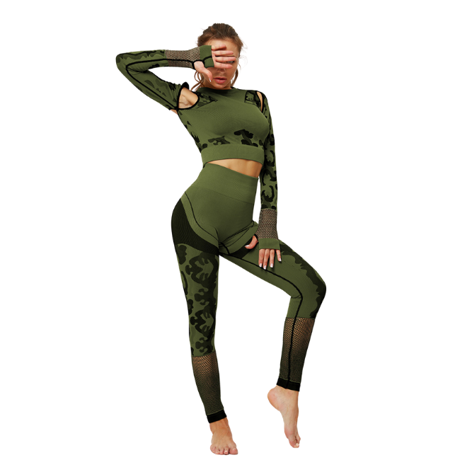 InstantFit, Bold Smokey-Olive Green Two Piece, Long Sleeve Compression Set