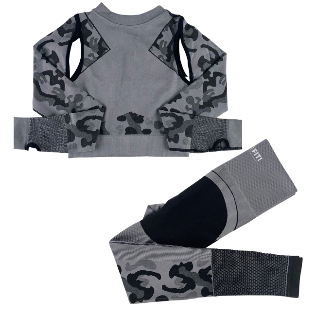 InstantFit, Bold Smokey-Grey Two Piece, Long Sleeve Compression Set