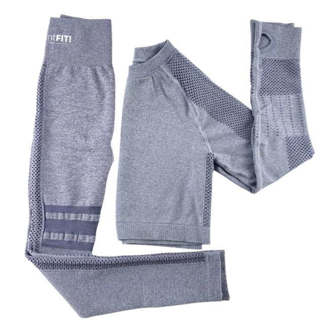 InstantFit, Pebble Grey Two Piece, Long Sleeve Compression Set