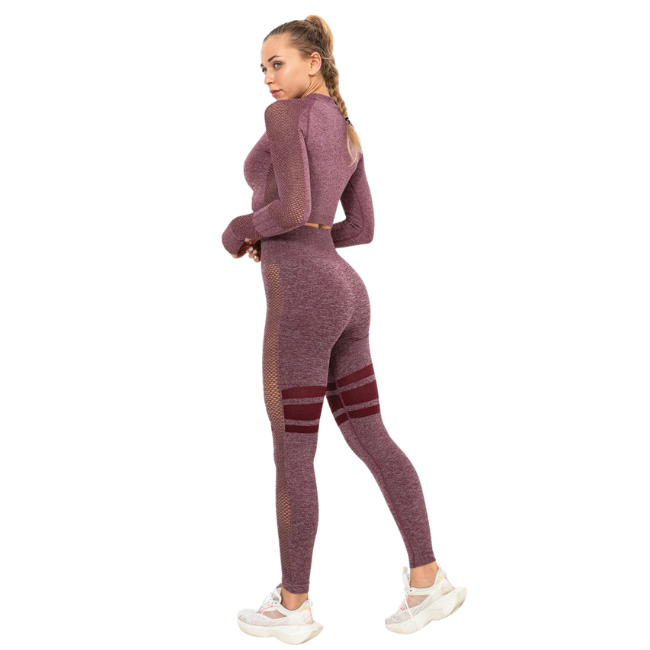 InstantFit, Mauve - Plum Two Piece, Long Sleeve Compression Set