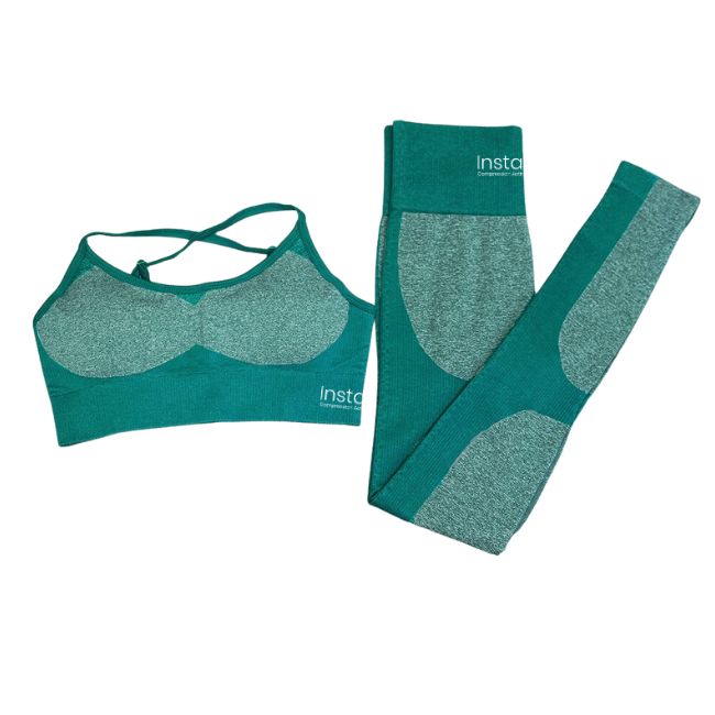 InstantFit, Tropical Teal Two Piece, Long Sleeve Compression Set