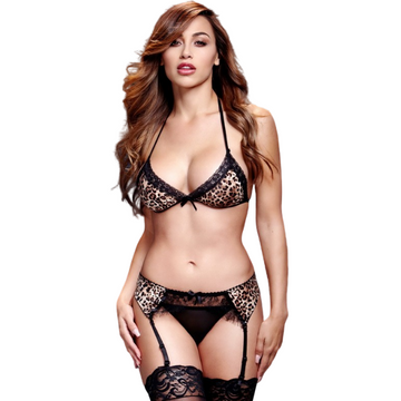 I Love Lingerie, Exotic Print, Three-Piece Leopard Print Suspender Set With Form-Fitting Halter Neck and Tie Back