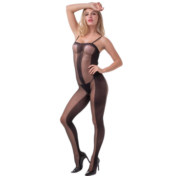 She Woolf Hosiery, Yes, I Cook! Sleeveless Striped Panel Transparent Full Length Body Stocking