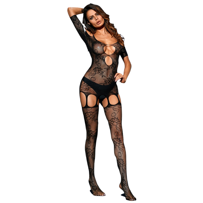 She Woolf Hosiery, She Blossom, Short Sleeve Floral Print Body Stocking with Suspenders