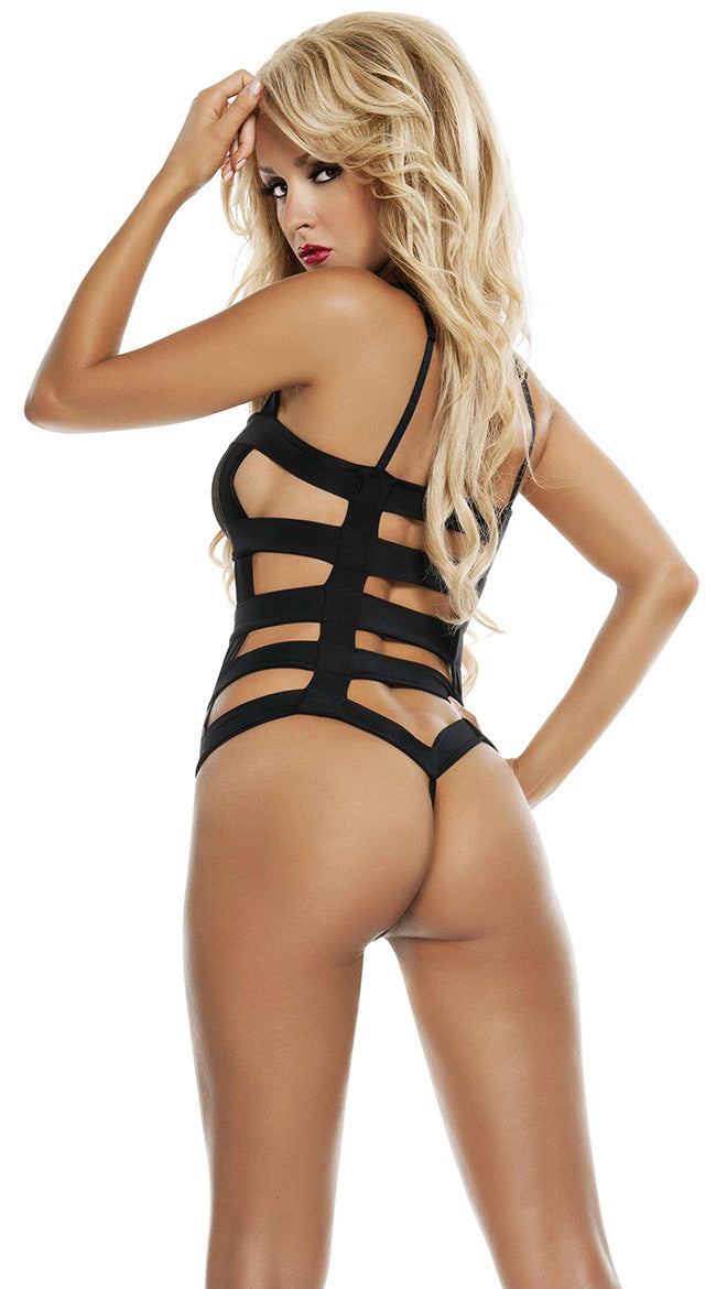 Talullah Suede, You Make Me, Black Elasticated Bodycage Bodysuit with Transparent Mesh Cut-Outs