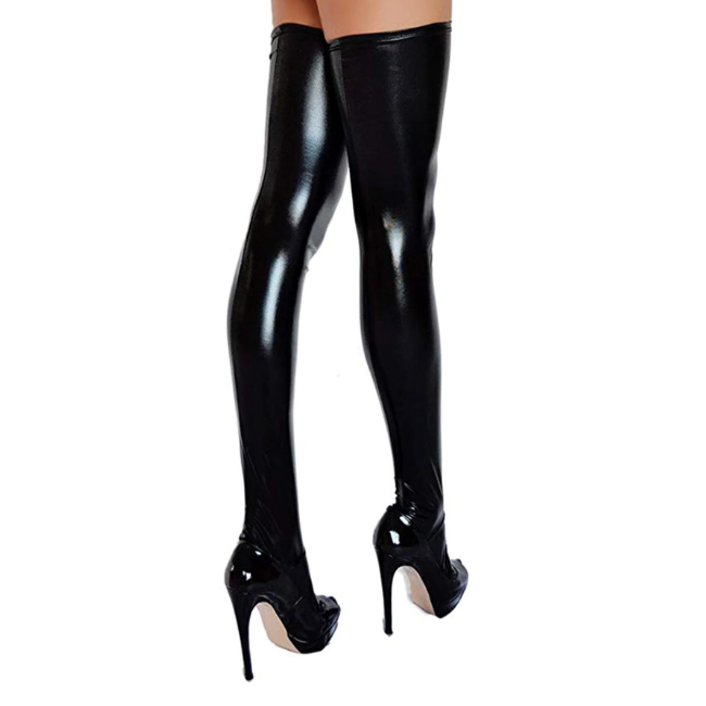 Talullah Suede, Slippery Thighs Liquid Look Black Mid-Rise Stockings