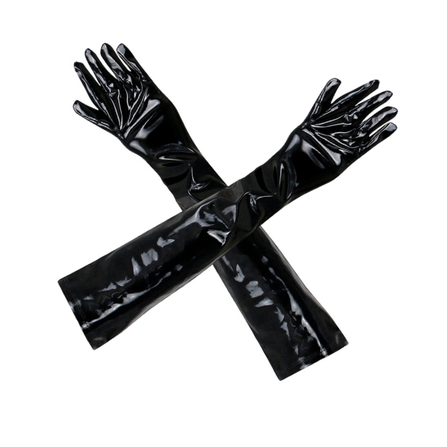 Talullah Suede, Touch Me Wet Look Glossy-Black Long Gloves