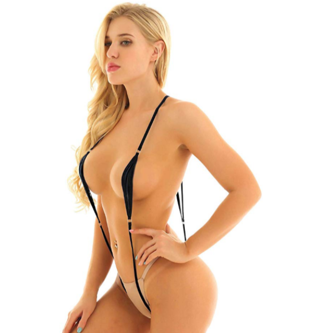 Talullah Suede, No Underwear, We Look Full Body Leatherette Micro-Kini