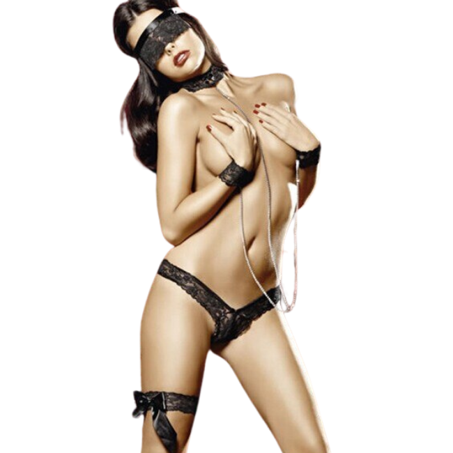 Talulah Suede, I Woke Up Black Lace Bodycage Matching Set with Wrist Cuffs