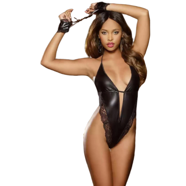 Talullah Suede, Punish Me PVC and Lace Cut-Out Ultra Glossy Bodysuit Matching Set