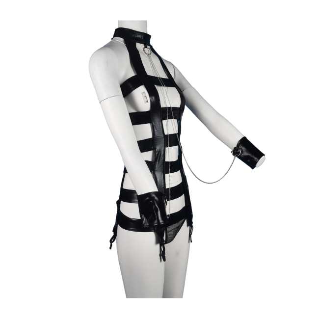 Talullah Suede, You Love It PVC Bodycage Romper and Suspender Glossy Black Matching Set